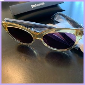 JUST CAVALLI SHINY YELLOW & SMOKE OVAL SUNGLASSES